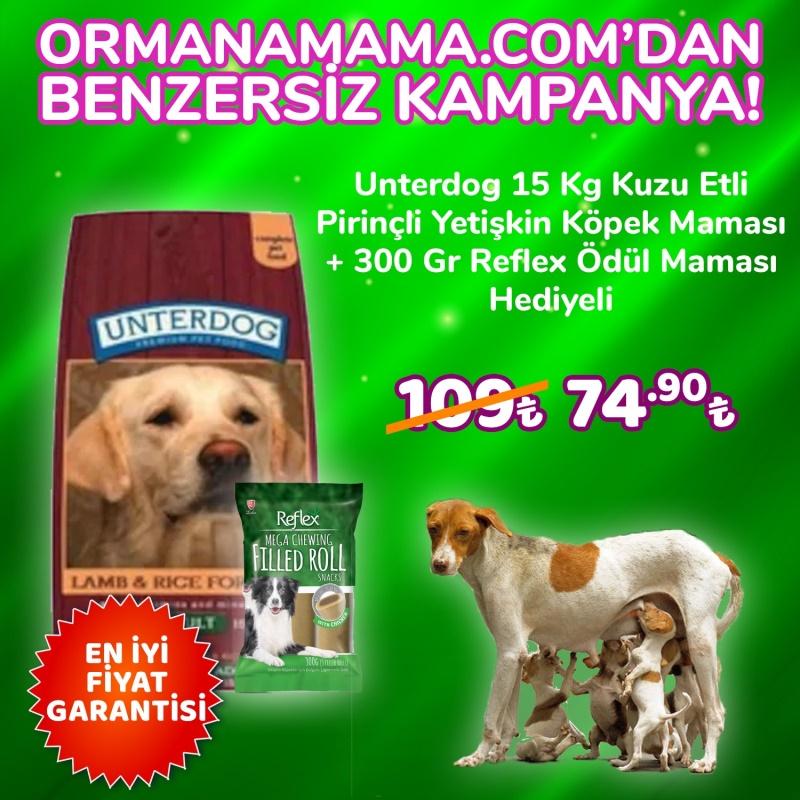 Unterdog Kuzulu Pirinçli Köpek Maması 15 Kg + 300 Gr Reflex Ödül Maması Hediye